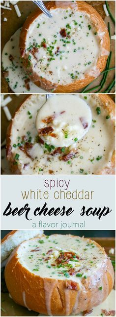 creamy, rich, decadent beer cheese soup made with white cheddar and a little heat. the ultimate comfort food soup in a bread bowl. spicy white cheddar beer cheese soup a flavor journal Crock Pot Recipes, Easy Soup Recipes, Cooking Recipes, Cooking Tips, Oats Recipes, Healthy Recipes, Beer Food Recipes, Yummy Recipes, Recipes Dinner