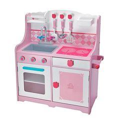 Cocina para niña de madera con horno y cocinilla, cocinita rosa