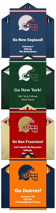 Paper invites are too formal, and emails are too casual. Get it just right with online invitations from Punchbowl. We've got everything you need for your Super Bowl party.    http://www.punchbowl.com/online-invitations/category/32/?utm_source=Pinterest&utm_medium=24.1P