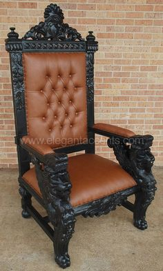 Carved Mahogany King Winged Lion Gothic Throne Chair Distressed Black Finish I would want it in brown wood with black leather! Artistic Furniture, Wood Bed Design, Carved Chairs, Throne Chair, King Chair, Modern Furniture Living Room, Church Furniture Design, Single Door Design, Elegant Chair