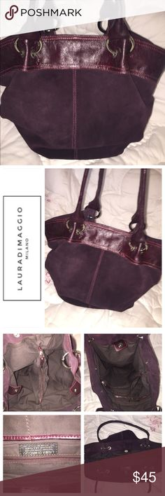 Laura Di Maggie XL real suede hobo, choco merlot🖤 Laura Di Maggie, XL hobo bag in a rich chocolate merlot color. Real suede; just had cleaned. Well made, gorgeous, big bag. Three main compartments with two zip close pockets, two open pockets. Snap Flap closure. Great hardware. One missing snap-see pic-snap at one end on inside top area, cannot be seen from outside and does not affect function. Five button feet on bottom. Otherwise no issues. Beautiful bag with tons of room-enough for…