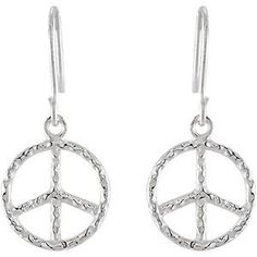 3941a06f4 Amazon.com: Sterling Silver Sterling Silver YOUTH HAMMERED PEACE SIGN  EARRINGS W/PACKAGIN...: Stud Earrings: Jewelry