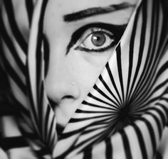 Awesome photos, love the stripes pattern Monochrome, Black White Stripes, Black And White, Night Circus, Makeup Designs, War Paint, Op Art, White Fashion, White Photography