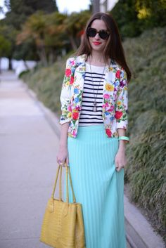 floral blazer paired with with stripes and a mint maxi!