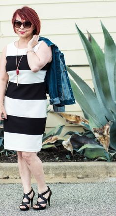 Striped Dress & Denim - A Pocketful of Polka Dots
