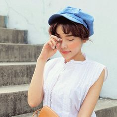 Korean Spring Summer The Small And Pure And Fresh Cowboy Blue Duck Tongue Newsboy Painter Octagon Hats