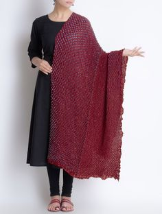 Buy Maroon Grey Gajji Silk Bandhani Printed Dupatta Accessories Dupattas Online at Jaypore.com