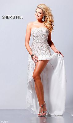 Not normally a mullet-dress fan but.. Sherri Hill Strapless Sequin Pageant Gown at SimplyDresses.com