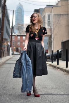 leather skirt + librarian look
