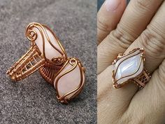 Tutorial DIY Wire Jewelry Image Description Ring with big stones without holes - How to make wire jewelery 254 Wire Jewelry Rings, Wire Jewelry Designs, Copper Jewelry, Wire Earrings, Diy Jewelry, Beaded Tassel Earrings, Gold Jewellery, Fashion Jewelry, Tutorial Anillo