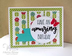Hand stamped birthday card by Marisa Ritzen using the Simply Amazing stamp set from Verve. #vervestamps