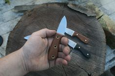 """The """"Fiend"""" has roughly a 3 1/2 finger length grip, w/ approximate 2.3"""" blade length & 5 1/2"""" total length. The handle is long enough to get a good amount of leverage in a regular or reverse grip for a variety of cutting tasks. These will make great EDC, camping, hiking, fishing, or anything else knives."""