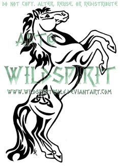 """Triquetra Rearing Horse Tattoo""    Commission information for deviantArt's WildSpiritWolf can be found at:   http://wildspiritwolf.deviantart.com/journal/WildSpiritWolf-s-Commission-Information-222860558"