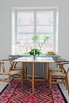 Wish bone chairs and Kilim rug <3