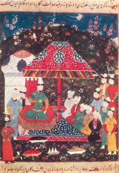 "Gazan-Khan gives a feast for the notables in his tent in Urjann. Masud ibn Osman-i Kukhistani. ""History of Abul-Khair-Khan"". IOS AS Usbek SSR. MS 9989, f. 1373. The 1540s. Samarkand"