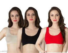 Sports Bra Women's Non Padded Sports Bra Fabric: Nylon Spandex Print or Pattern Type: Solid Padding: Non Padded Type: Sports Bra Multipack: 3 Sizes: Free Size (Underbust Size: 29 in Overbust Size: 35 in) Country of Origin: India Sizes Available: Free Size   Catalog Rating: ★4 (1365)  Catalog Name: Stylish Women Bra CatalogID_638334 C79-SC1409 Code: 792-4431873-996