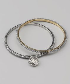 Light Gray Rose Charm Beaded Bangle Set by Alexa's Angels