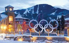 PHOTO BY MIKE CRANE, COURTESY OF TOURSIM WHISTLER - Olympics Rings in Olympic Plaza  Lasting Legacies  Hosting the 2010 Olympic Games raised Whistler's profile and left legacies for a lifetime. by Damian Inwood