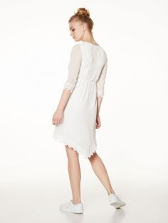 LONG SLEEVED LACED LEISURE DRESS, Snow White