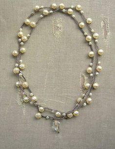Pearl crochet wrap necklace wrap bracelet  Gigi  Bohemian