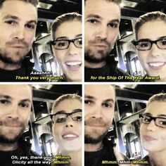 Stephen & Emily <3 #Stemily <3 MTV STOY video #Olicity #ShipoftheYear - Thank you very much to everyone who contributed to the Ship Of The Year Award. My apologies that it took so long to put together a video. And ah… sorry that our characters broke up. - Stephen