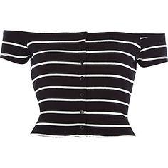 Black stripe ribbed bardot top $14.00