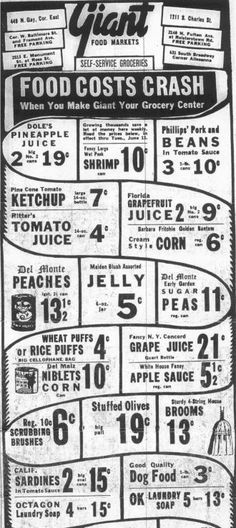 Kilduffs Look at Baltimore Supermarkets from the past Grocery Store Flyers, Grocery Ads, Giant Food, Old Advertisements, Advertising, Food Cost, Shopping Catalogues, Store Ads, Vintage Ads