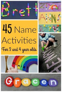 45 Awesome Name Activities for Preschoolers! - How Wee Learn These are AWESOME name activities for preschoolers! Teaching name recognition and name letters is a great first step to learning letters of the alphabet for kids. Name Writing Activities, Name Activities Preschool, Kindergarten Names, Kids Learning Activities, Learning Letters, Alphabet Activities, Preschool Activities, Teaching Kids, All About Me Preschool Theme