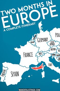 Planning your first European trip? A complete itinerary for Europe in two months that covers eleven countries! Include advice on the best cities to visit in Europe during your Eurotrip including Paris Berlin Amsterdam Prague Lisbon. Backpacking Europe, Europe Travel Guide, Traveling Tips, Europe Destinations, Eurotrip, Europa Tour, Voyage Europe, Just Dream, Travel Information
