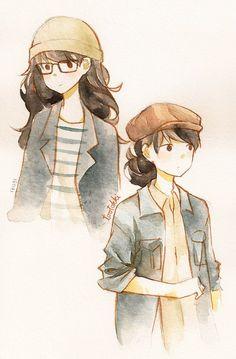 Watercolor anime drawings