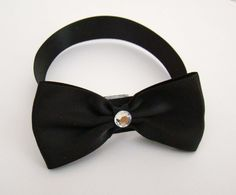 Elegant Black Bling Dog Collar Bow Tie by DivaPuppyCouture on Etsy, $6.95