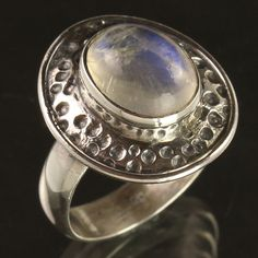 Deco Ring Size US 8 Natural RAINBOW MOONSTONE Oval Gemstone 925 Sterling Silver #Unbranded