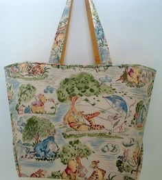 Winnie the Pooh and Friends Tote Bag in a New Larger Size by crystalthreads!  Makes a wonderful baby shower gift!