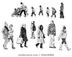 Find Casual Pedestrians stock images in HD and millions of other royalty-free stock photos, illustrations and vectors in the Shutterstock collection. Human Figure Sketches, Figure Sketching, Painting People, Drawing People, Sketches Of People, Art Sketches, Walking People, Village People, Music Covers
