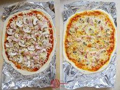 Spośród wielu odmian tej potrawy, my wybieramy pizzę z pieczarkami, szynką i oliwkami. Jeśli chcecie wypróbować inne dodatki, wykorzystajcie pierwszą część przepisu na pyszne ciasto (na dwie cienkie lub jedną grubą pizzę):