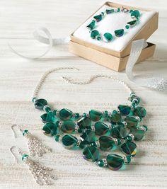 Silver and Emerald Glitz Jewelry