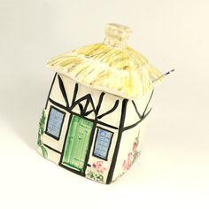 Vintage 30s 40s Shabby Chic English Country Cottage Ceramic Jam Honey Jar Preserve Pot.  Etsy.
