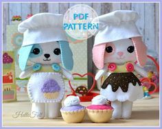 This PDF sewing pattern is to make a Toffee and Brownie dolls from felt, their clothes, chef hats, aprons and cupcakes. These dolls are hand sewn.