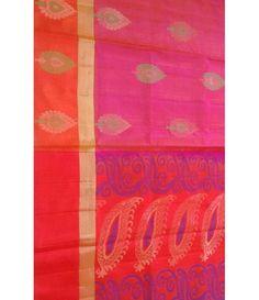 Pink Pure Handloom Kajeevaram Soft Silk Double warp Saree
