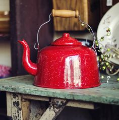 red speckled enamelware/graniteware tea kettle [teapot] with wire and wood grip handle, porcelain enamel on metal, c. 1980s-2000s?