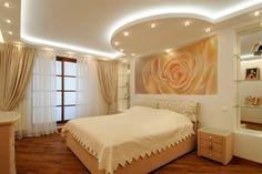 Картинки по запросу закругленный потолок из гипсокартона в спальне