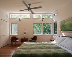 Ideas for Choosing the Right Bedroom Window Treatments: Modern Bedroom With Neoteric Bedroom Windows Also Antique With Wall Paint Color Also Modern Queen Size Bed Also White Pillowcase Also Comely Green Quilt Color And Unique Wooden Chairs Also Brown Wooden Table ~ vettelicious.com Bedroom Ideas Inspiration