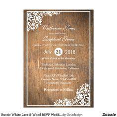 Rustic White Lace & Wood RSVP Wedding Invitation