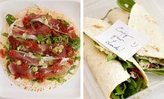 Lunch wrap recept met parmaham, zongedroogde tomaatjes, rucola en lenteuitjes.