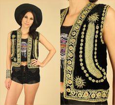 ViNtAgE 60's 70's Rare #BlackVelvet #Gypsy Vest Gold #Feather & #Sun Motif // by #hellhoundvintage