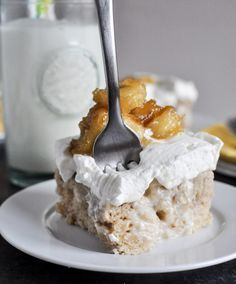 banana tres leches cake with caramelized bananas