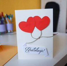 DIY Prosta kartka ślubna handmade Wedding Pictures, Quilling, Wedding Cards, Place Cards, Scrapbooking, Place Card Holders, Diy, Handmade, Gifts