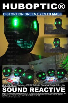 Robot Mask Green Eyes Electric Bot / Light Up Mask by HUBOPTIC