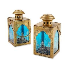 3ct Indian Jewel Lanterns Gold/Blue (120 BRL) found on Polyvore featuring home, home decor, candles & candleholders, antique gold, blue tealight candles, antique gold candle holders, gold candlestick holders, gold tealight candles and gold tea lights