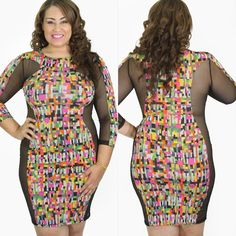 Dress NWOT Cute multi colored dress with mesh sides new never worn 1x fits 12/14 Boutique Dresses Mini